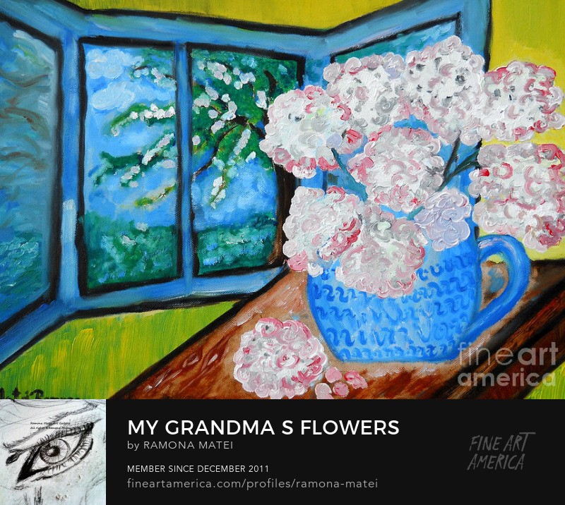 hydrangea snowballs flowers grandma memories oil painting by ramona matei