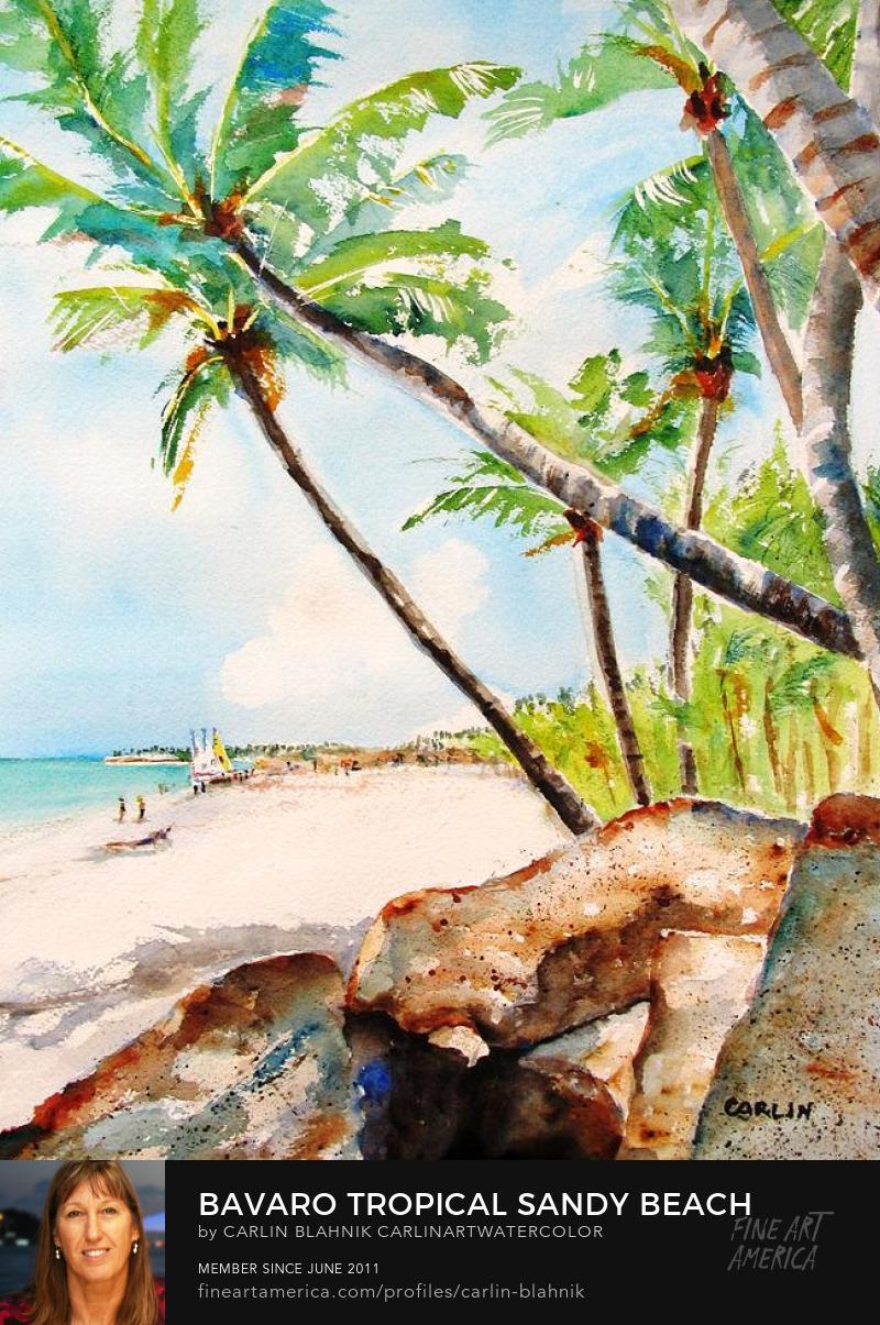 Bavaro Beach Watercolor Painting Print by Carlin Blahnik