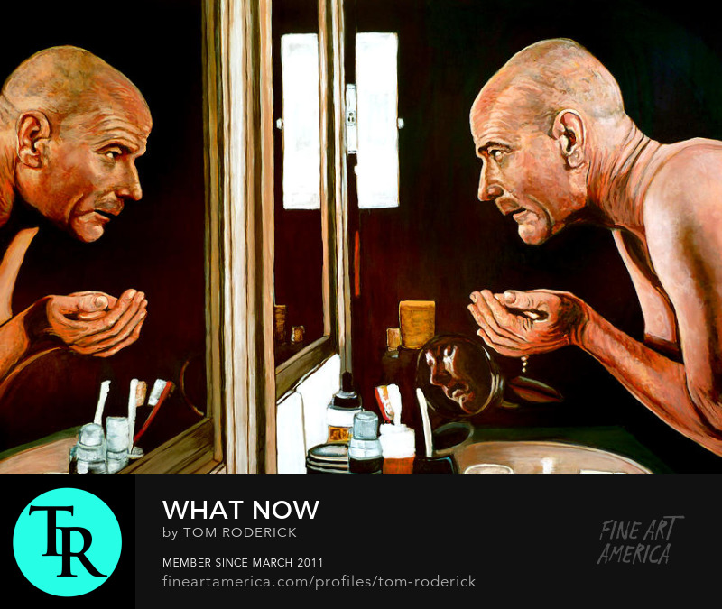 Walter White looking at his reflection by Boulder portrait artist Tom Roderick