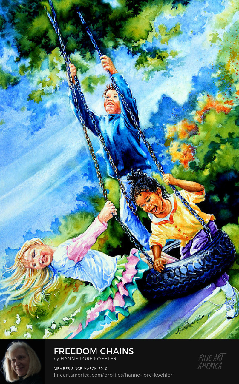 Art Prints Of Children Playing On A tire Swing