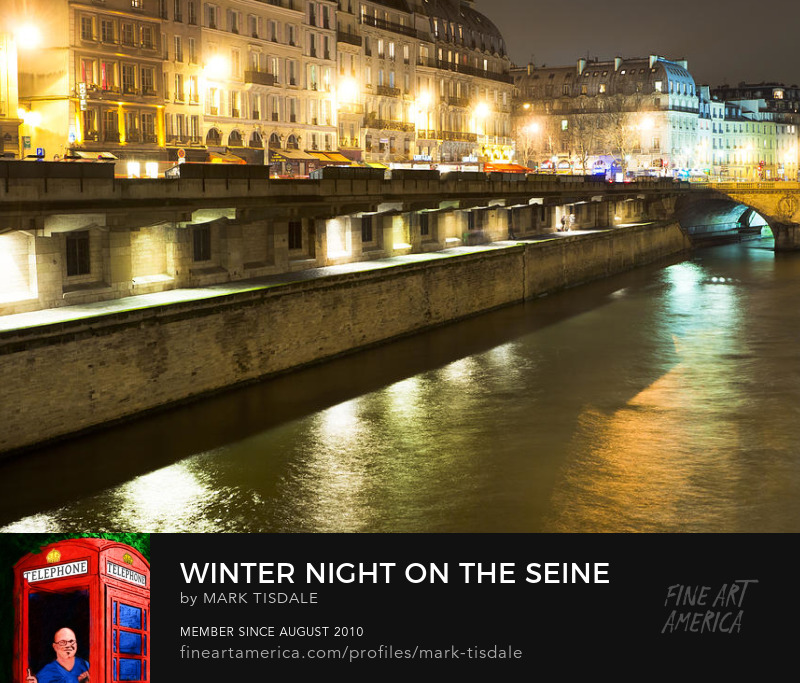 Paris Seine at Night Art Print