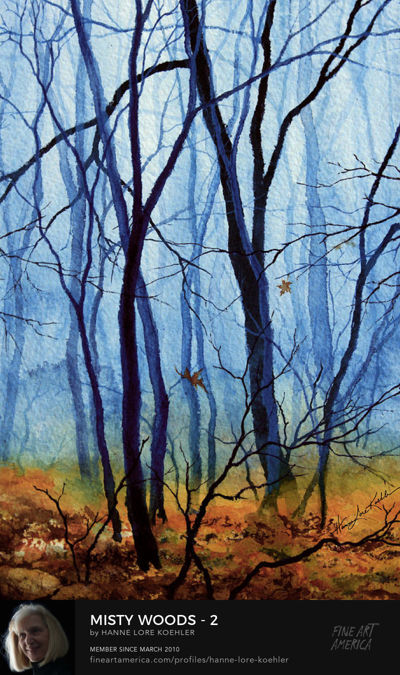 Misty Woods Acrylic Tetraptych Painting And Art Prints