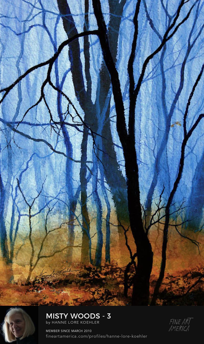 Misty Autumn Woods Painting