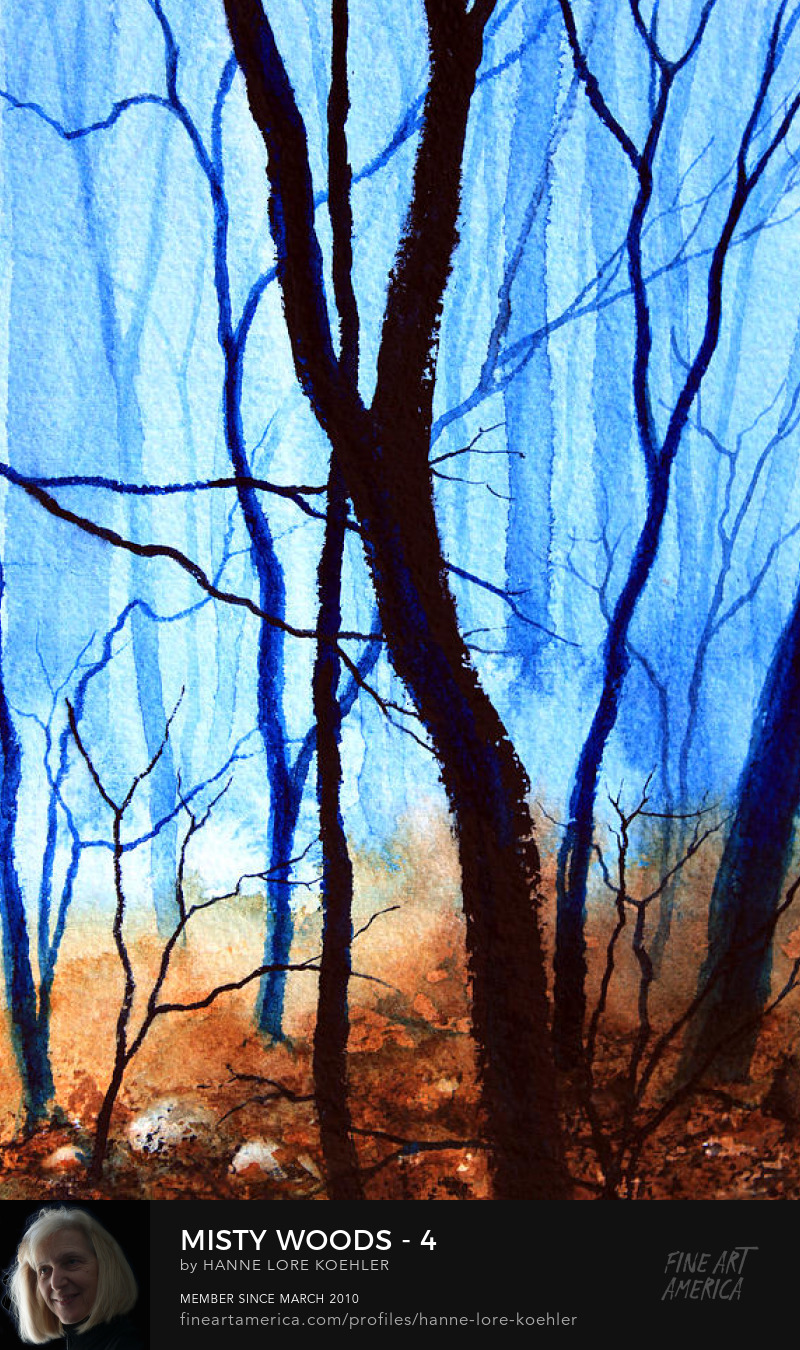 Misty Autumn Forest large canvas Painting