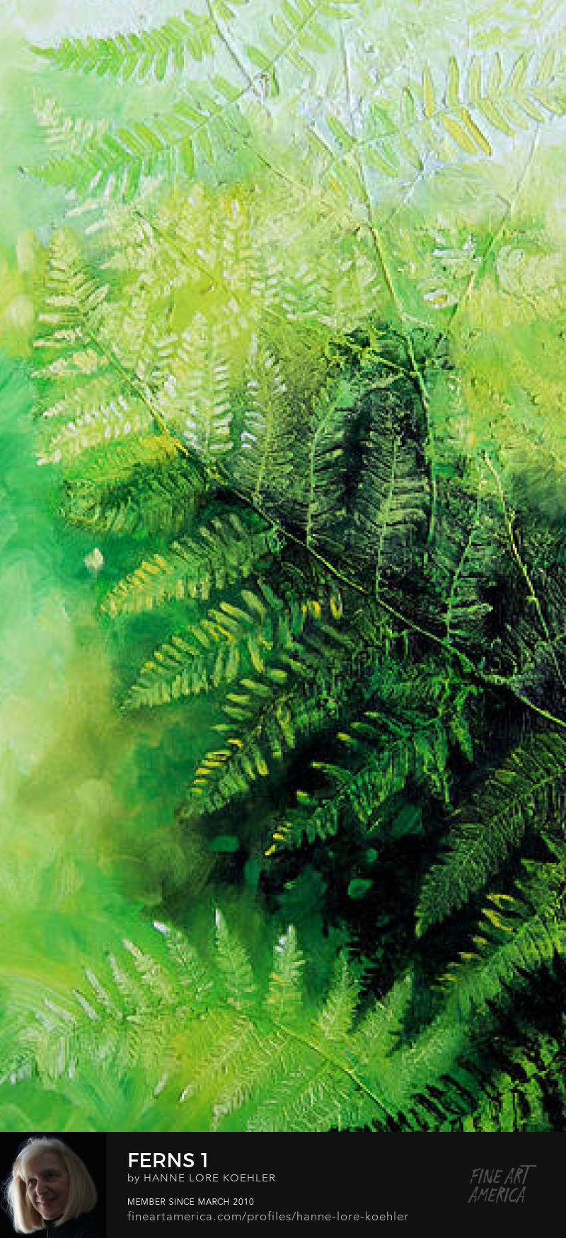 fern canvas painting pentraptych