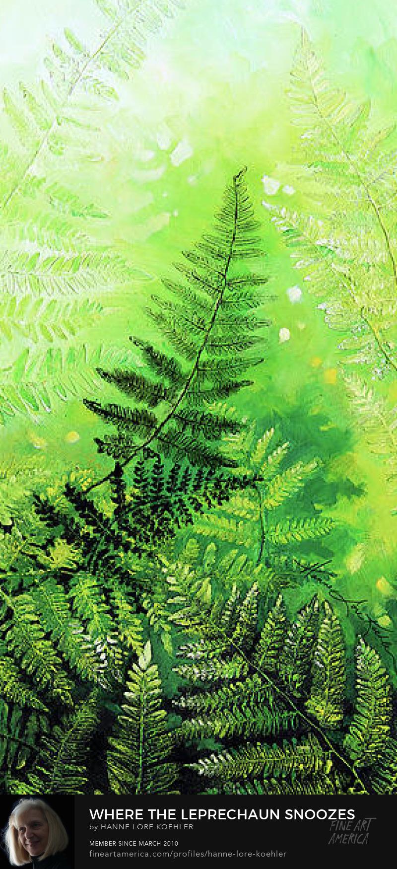 large impasto acrylic painting of ferns