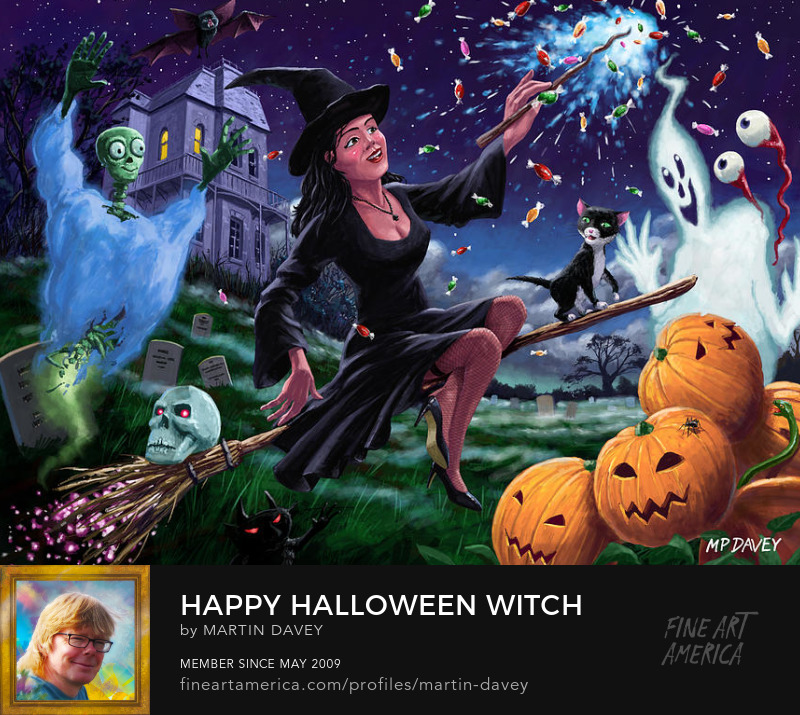 Happy Halloween Witch With Graveyard Friends digital art m p davey
