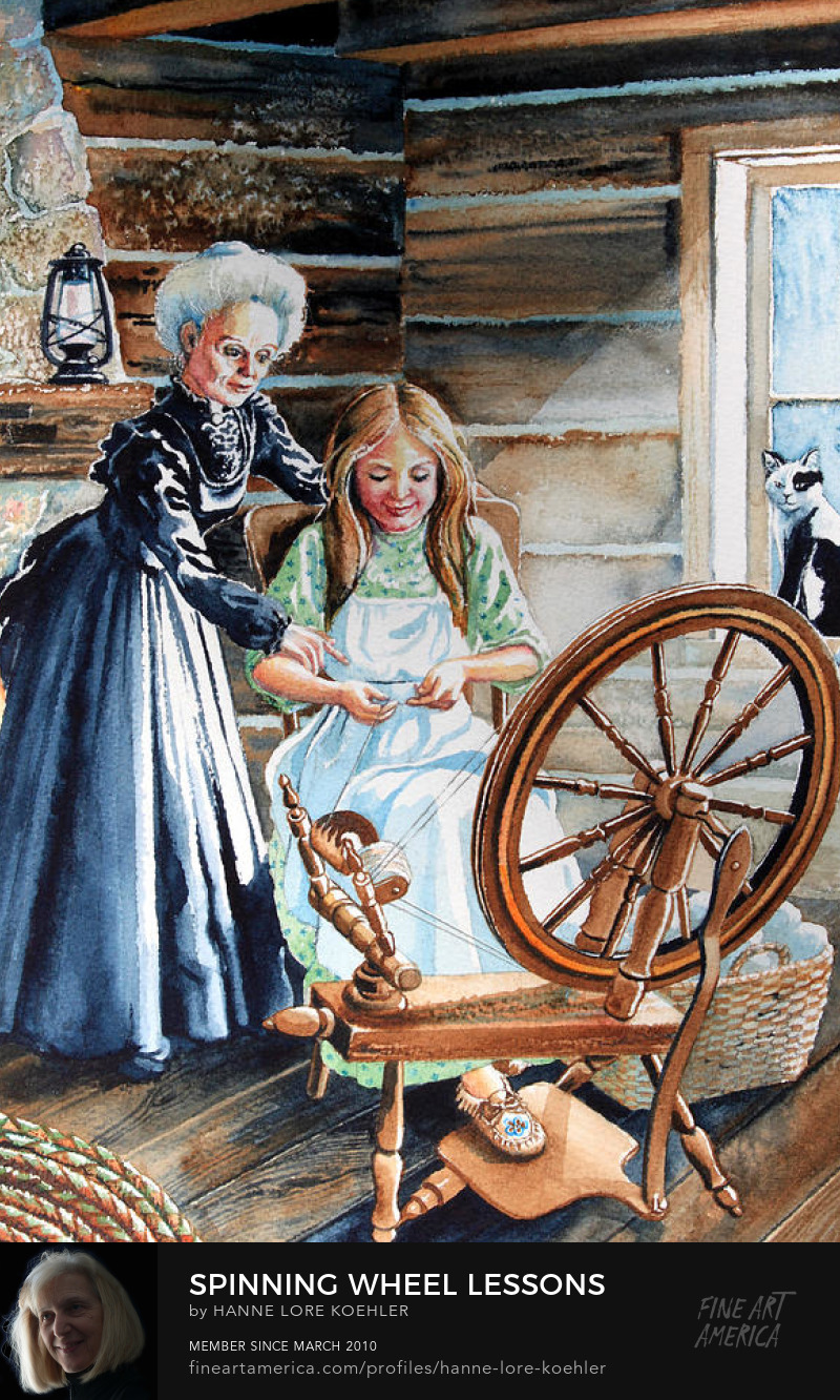 Log Cabin Spinning Wheel illustration
