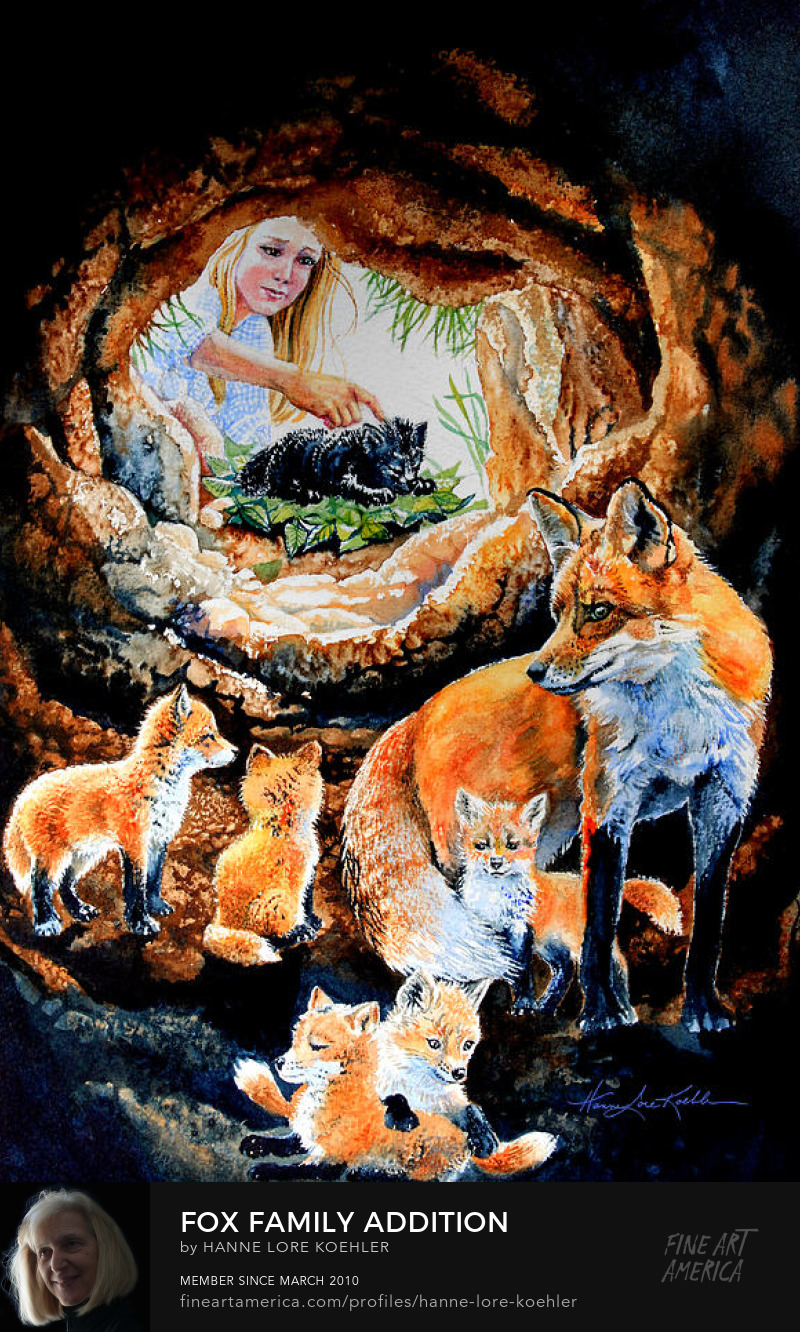 Fox Family in Den painting