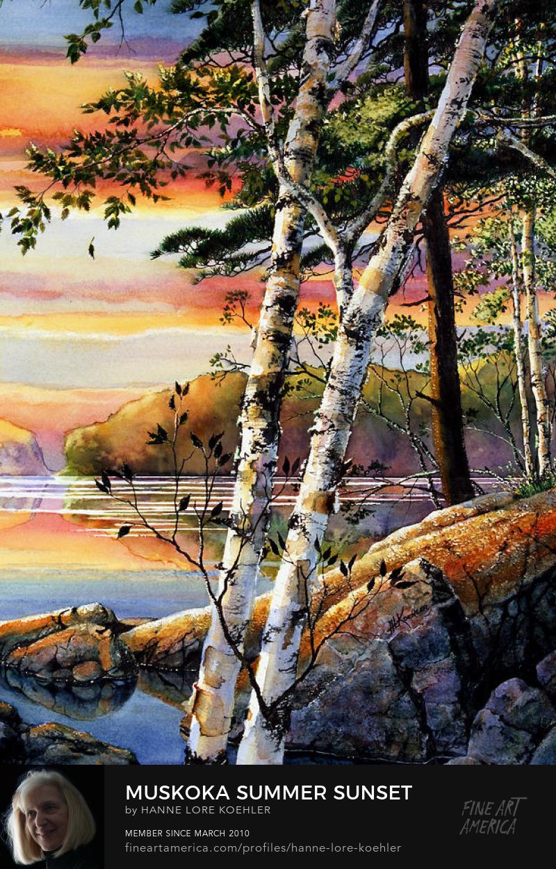 Muskoka lake summer sunset painting and prints