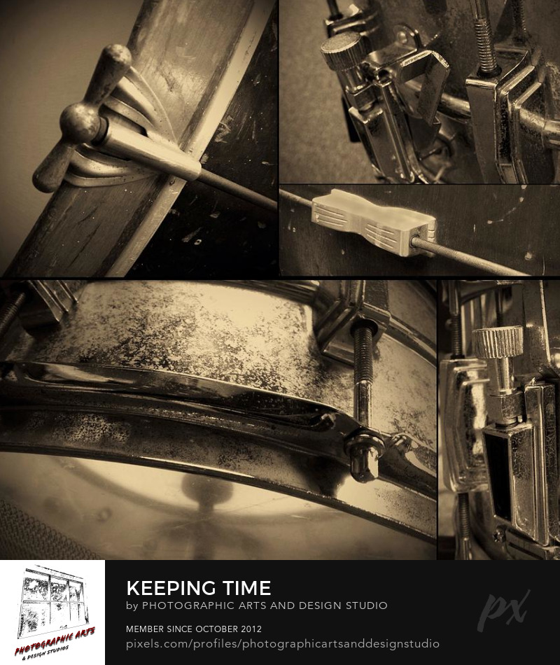 Drum collage keeping time for sale by Matt Matekovic