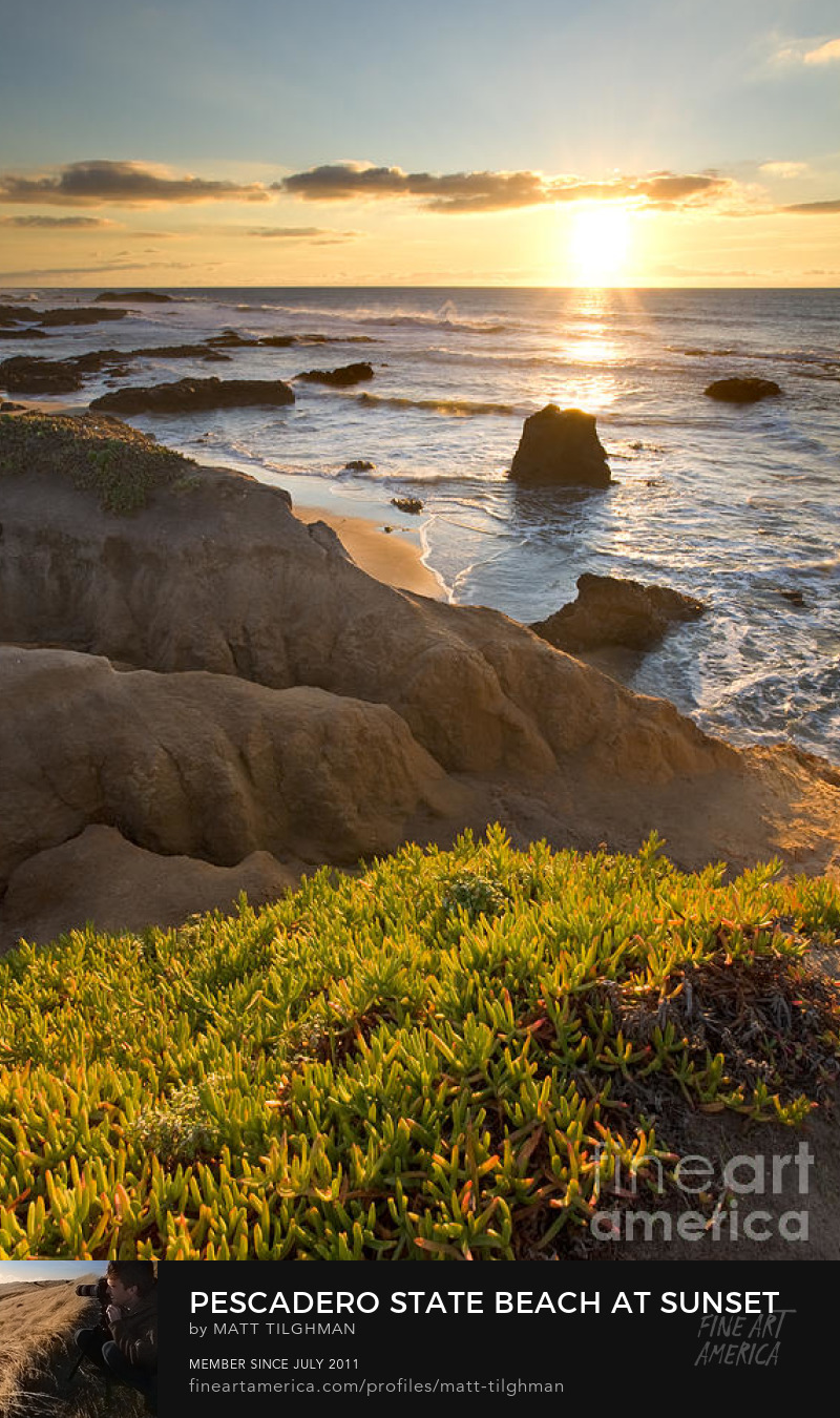 Pescadero Beach at Sunset Art Prints