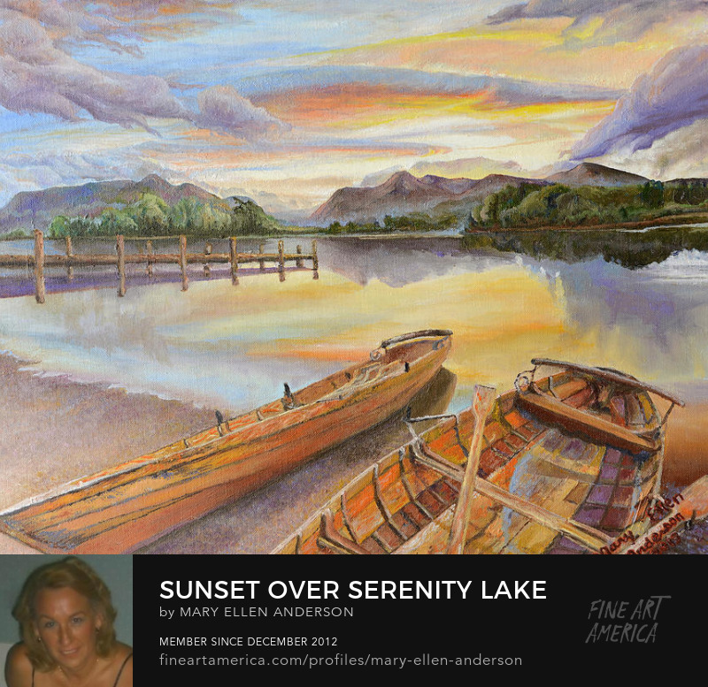 Sunset Over Serenity Lake by Mary Ellen Anderson' title=