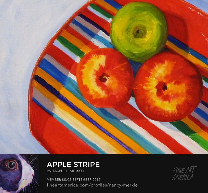 Apple Stripes Still Life Oil Painting