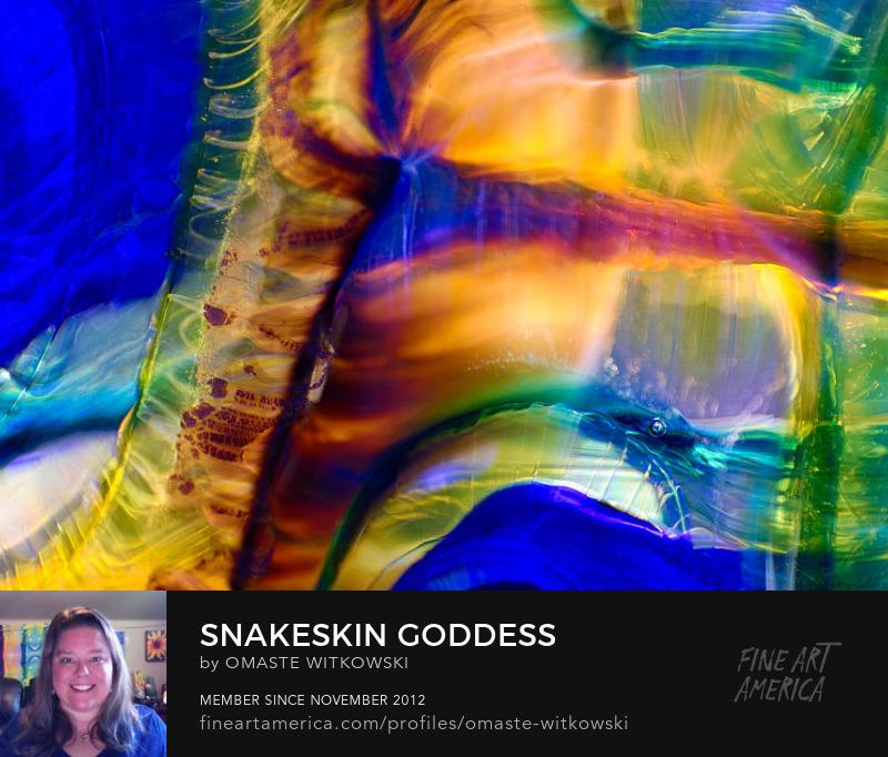 Snakeskin Goddess Peacock Vase Macro Glass Photography