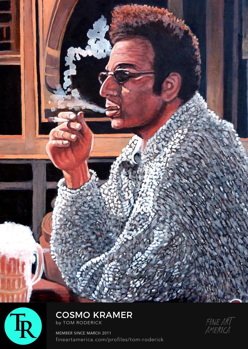 Portrait of Kramer smoking a cigarette by Boulder artist Tom Roderick