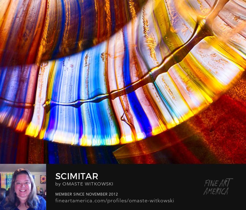 Scimitar Peacock Vase Macro Glass Photography