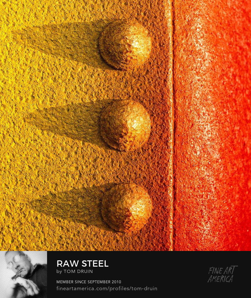 unique  orange and yellow raw steel abstract realism by tom druin