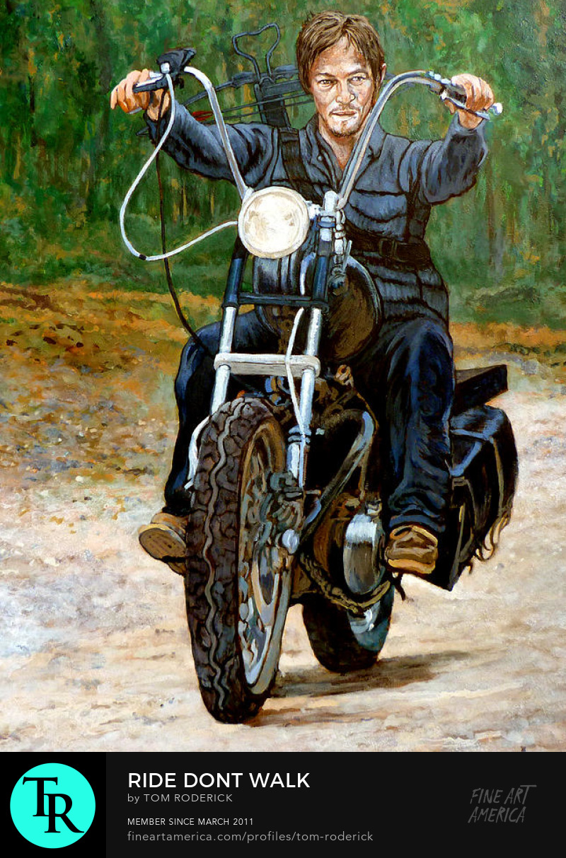 Portrait of Daryl on his motorcycle by Boulder contemporary artist Tom Roderick
