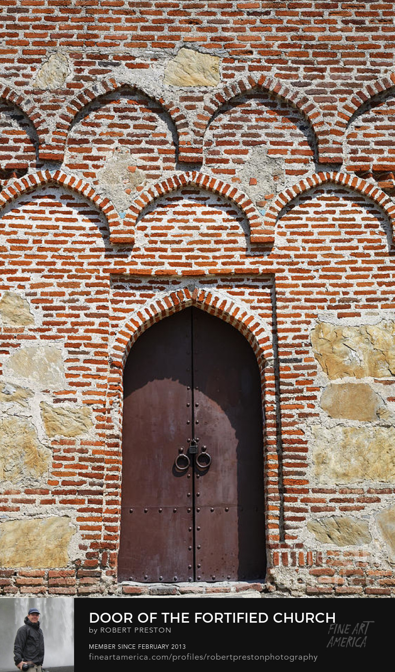 Door of the fortified church Gremi Georgia