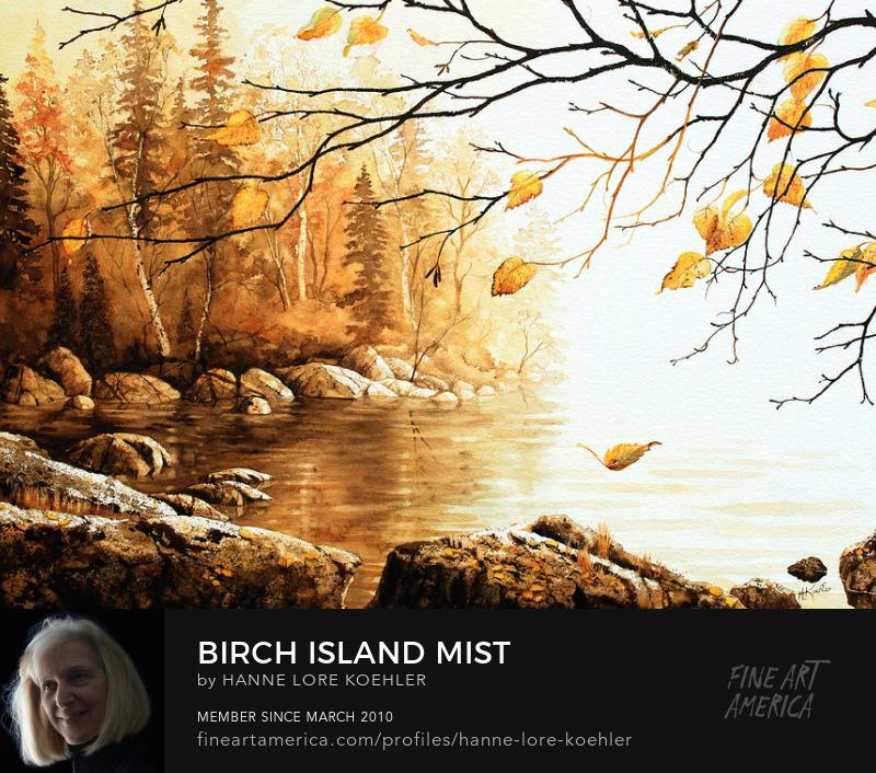 Misty Autumn Birch Island Lake Painting