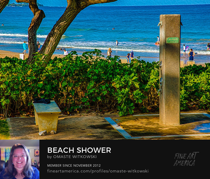 Beach Shower Hawaii Photography Prints