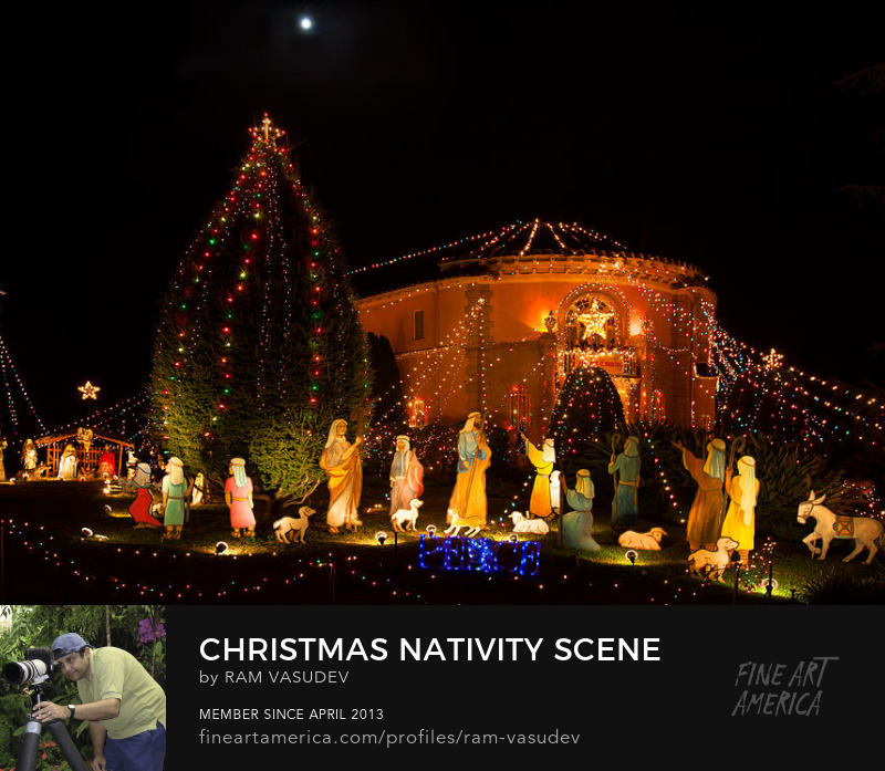 Christmas Nativity Scene Under a Full Moon by Ram Vasudev