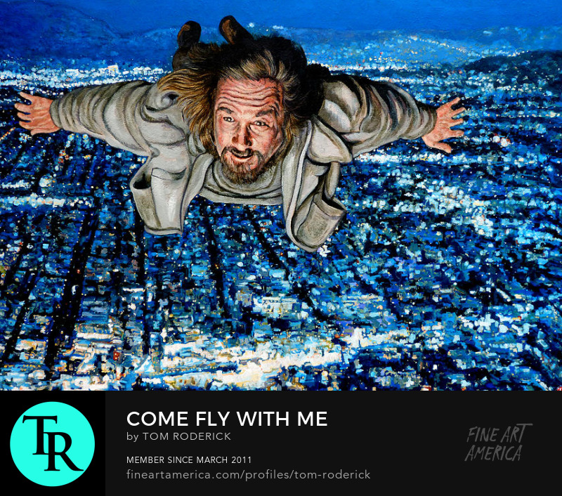 The Dude flying over LA by Boulder artist Tom Roderick