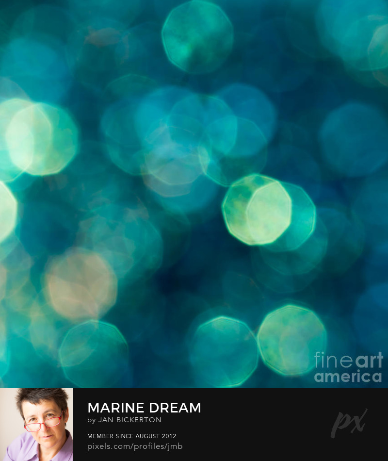 abstract bokeh photography in turquoise blue by Jan Bickerton