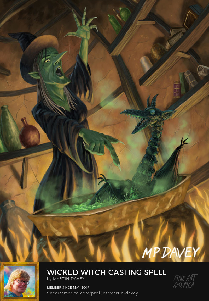 witch in coven with cauldron illustration
