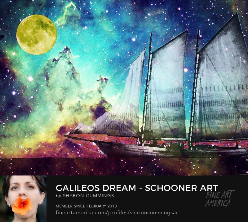 Schooner Art Prints Ocean Night Sky Paintings