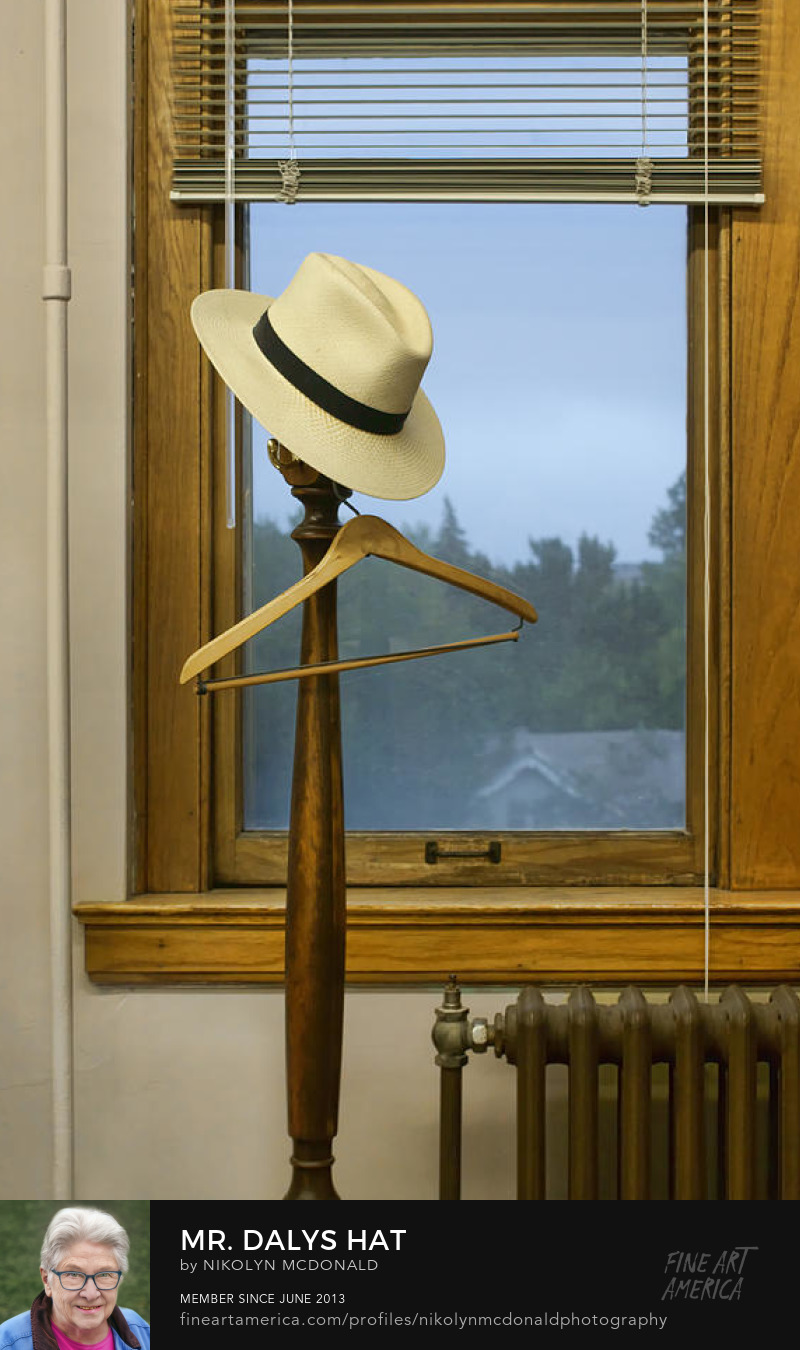 hat wooden hanger coat rack by window by Nikolyn McDonald