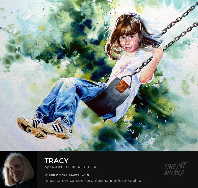 Portrait Painting And Prints of Girl On A Swing