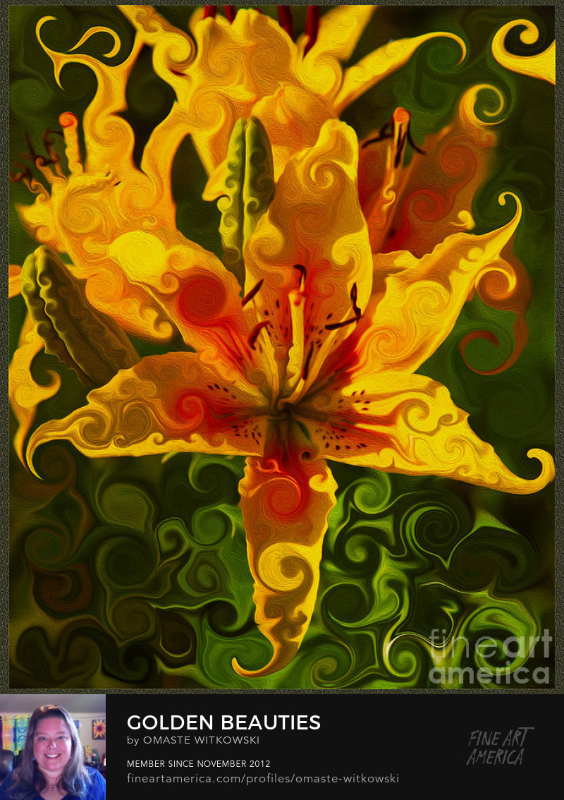 Golden Beauties Abstract Flowers Digital Artwork