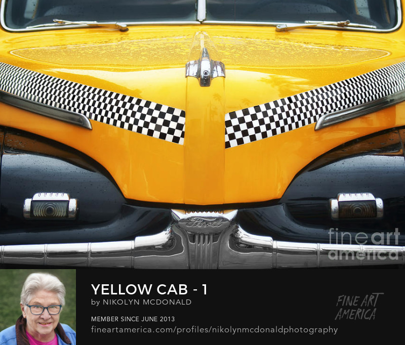 classic yellow checkered taxi cab close-up by Nikolyn McDonald