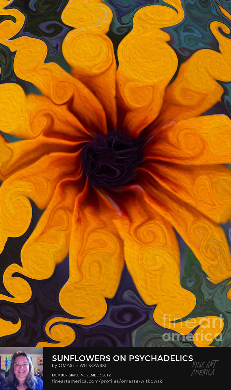 Sunflowers On Psychadelics Abstract Flowers Art Prints