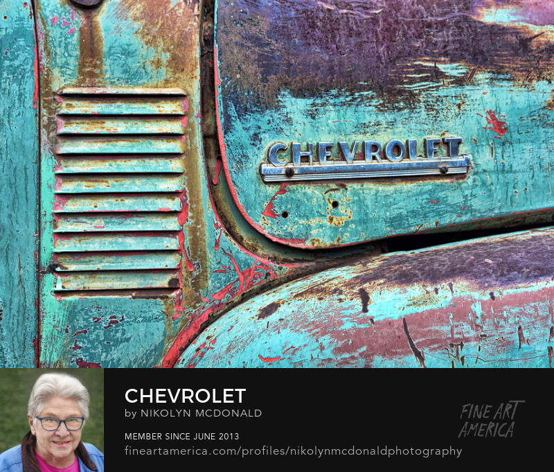 blue Chevrolet pick-up truck detail vent photo by Nikolyn McDonald