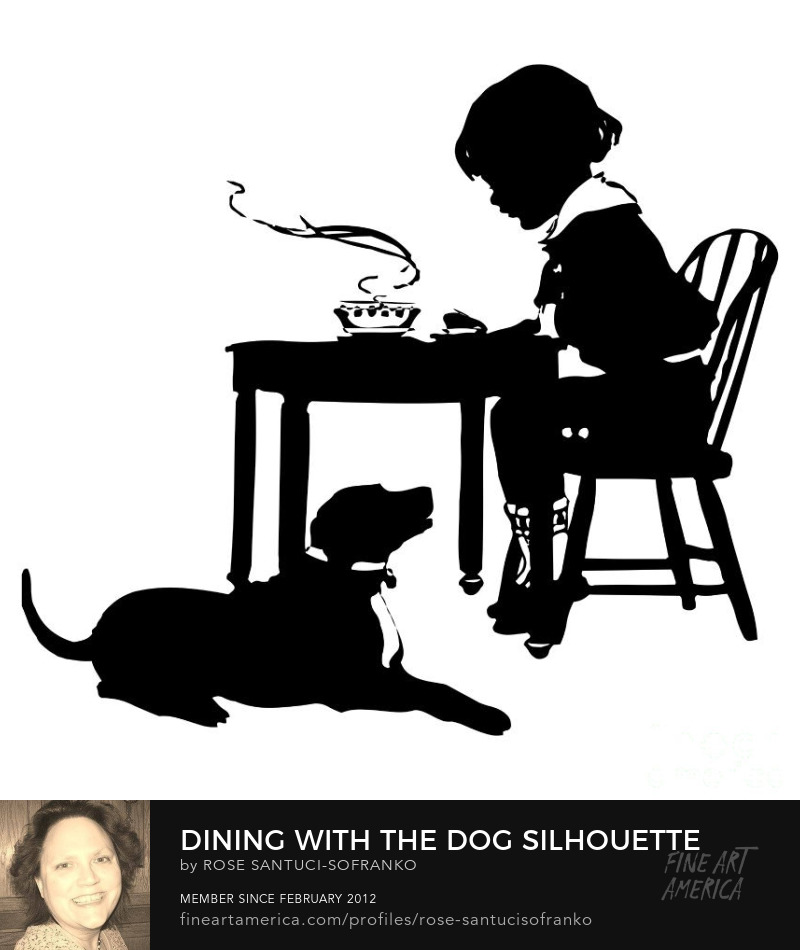 Dining With The Dog Silhouette Prints