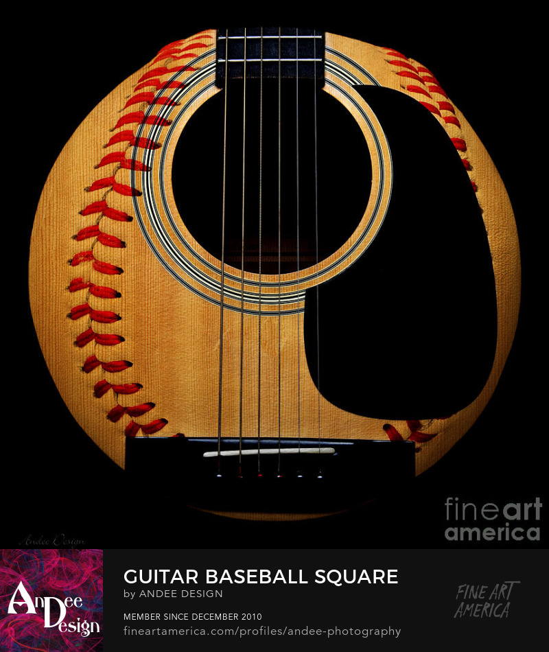 Guitar Baseball Square by Andee Photography