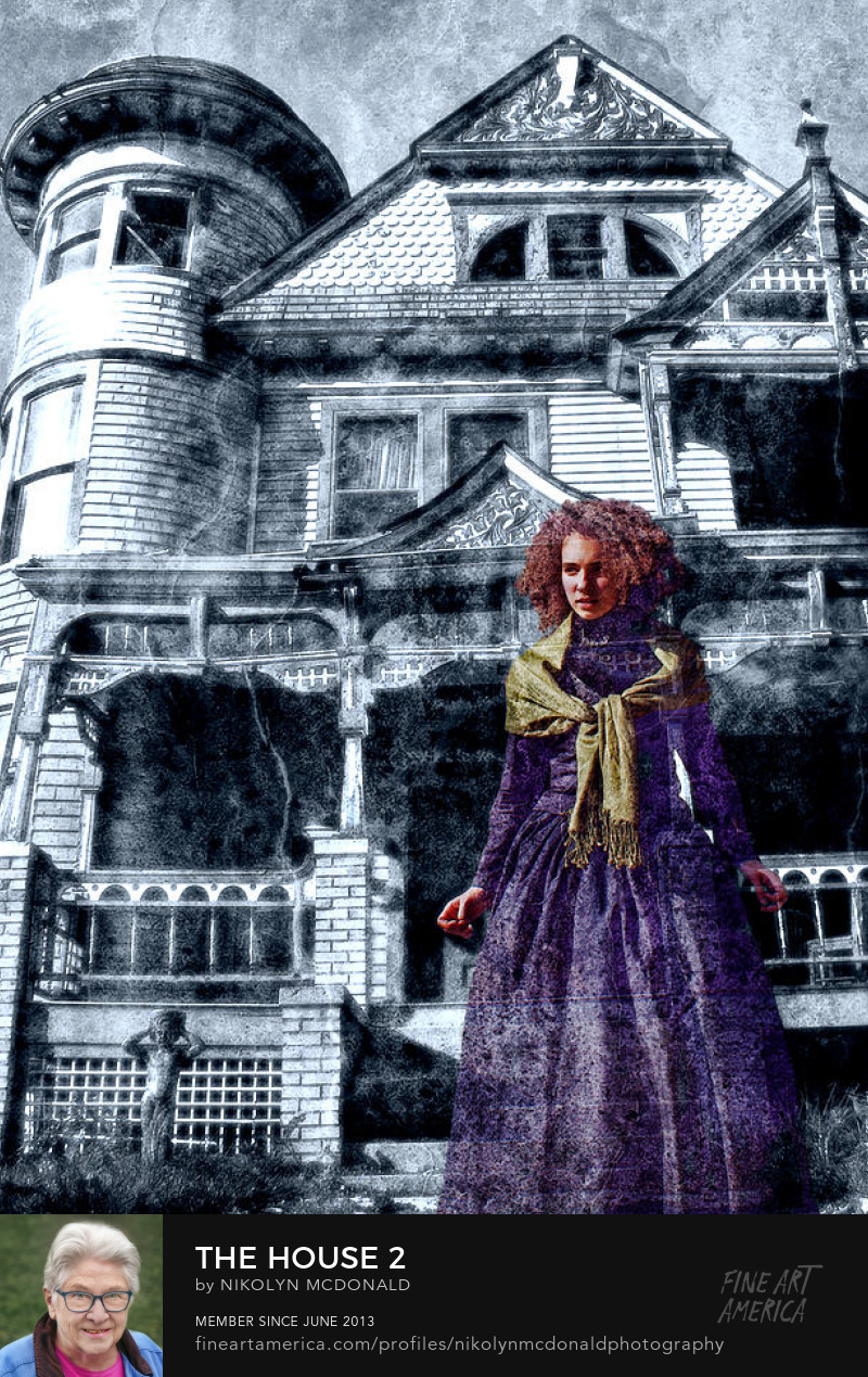 Victorian mansion costumed ghostly female figure photo by Nikolyn McDonald