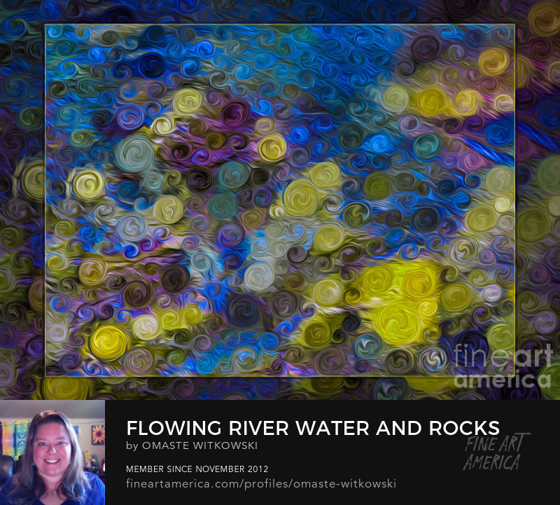Flowing River Water And Rocks Liquid Paint Art Prints