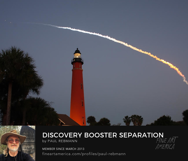 Purchase Discovery Booster Separation over Ponce Inlet Lighthouse by Paul Rebmann