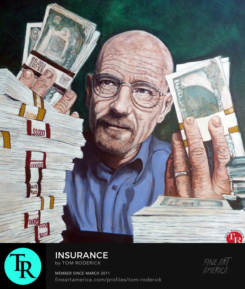 Walter White with some fat stacks by Boulder portrait artist Tom Roderick