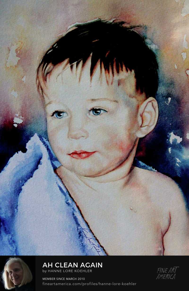 Portrait Painting of young boy after bath