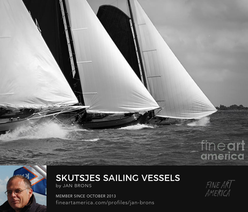 Skutsjes sailing vessels in the midst of a regatta - Photography Prints