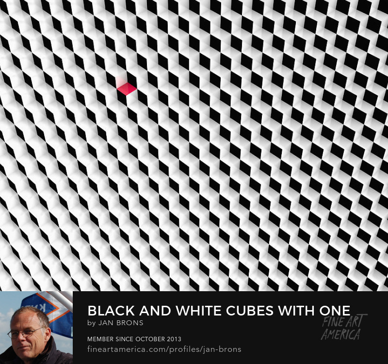 Black and white cubes with one red cube - Art Prints
