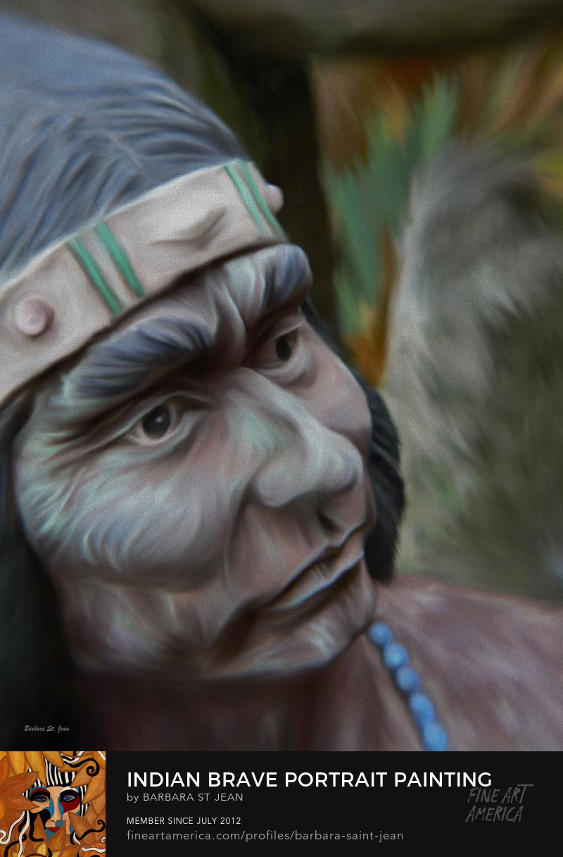 Indian Brave Portrait Painting by Barbara St. Jean