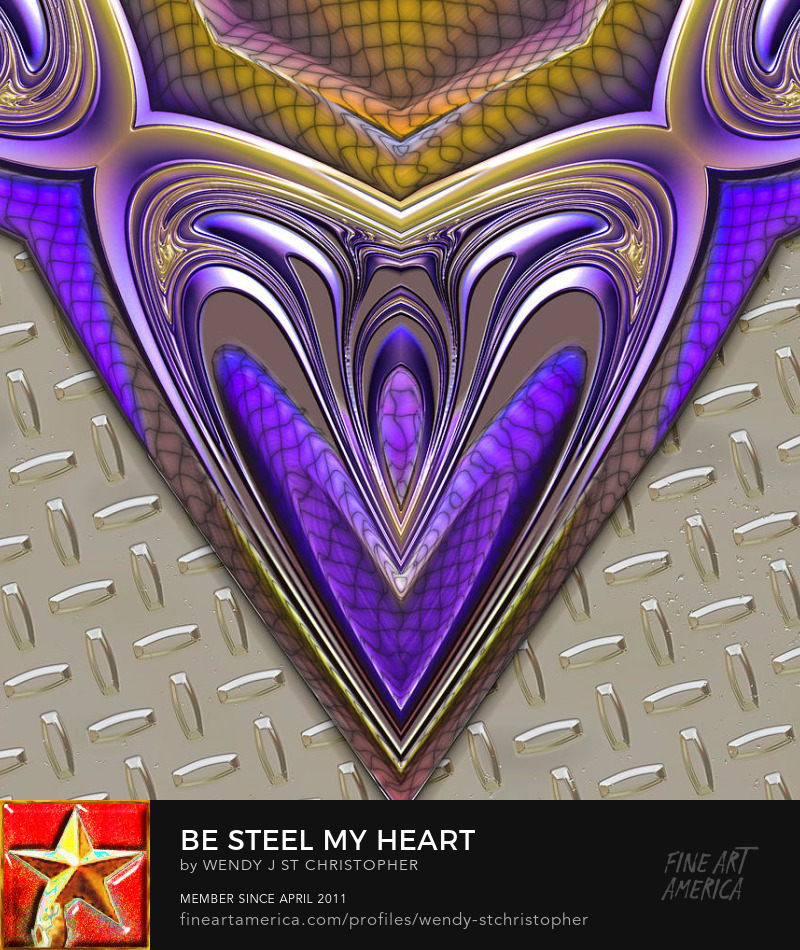 digital heart abstract art by Wendy J. St. Christopher