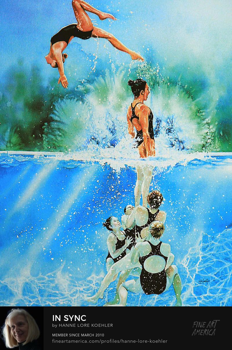 Synchronized Swimming Art Prints for Girls Room Decor