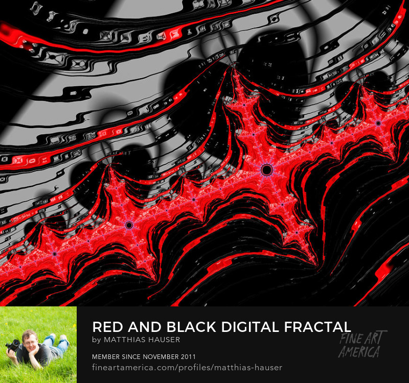 Red and black fractal abstract with dark hearts by Matthias Hauser
